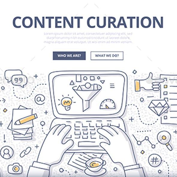 Content Curation Doodle Concept