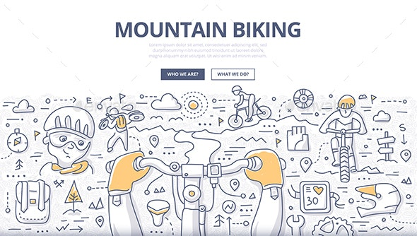 Mountain Biking Doodle Concept - Sports/Activity Conceptual