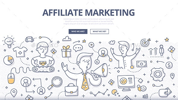 Affiliate Marketing Doodle Concept - Concepts Business