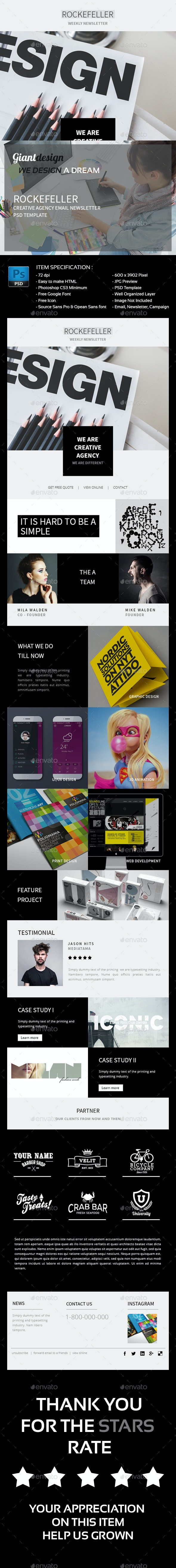 Rockefeller - Creative Agency Email PSD - E-newsletters Web Elements