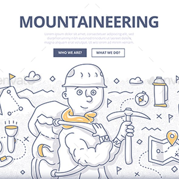 Mountaineering Doodle Concept