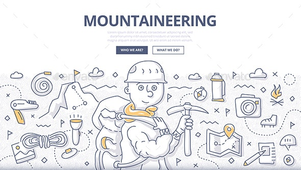 Mountaineering Doodle Concept - Sports/Activity Conceptual