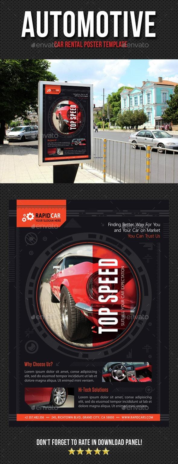 Automotive Car Rental Poster Template V07 - Signage Print Templates