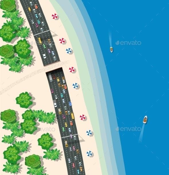 Top View Urban Road Transport - Landscapes Nature