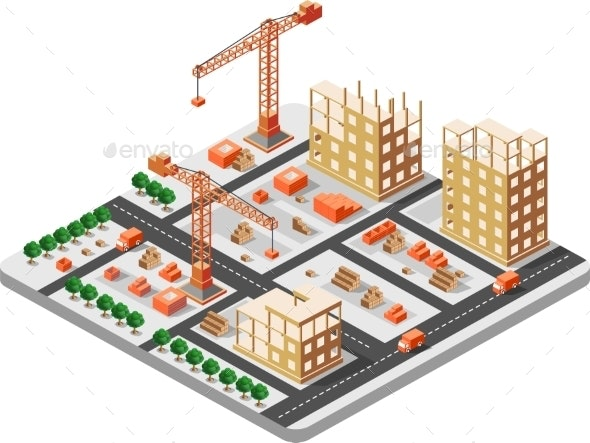 Isometric Construction Building - Buildings Objects