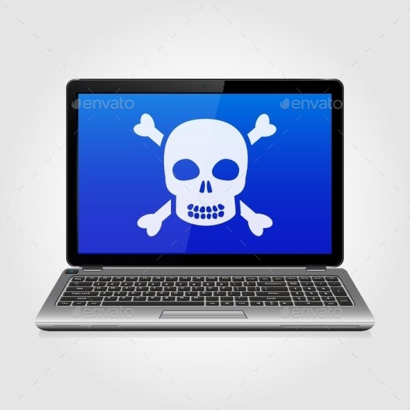 Laptop With Skull On The Blue Screen