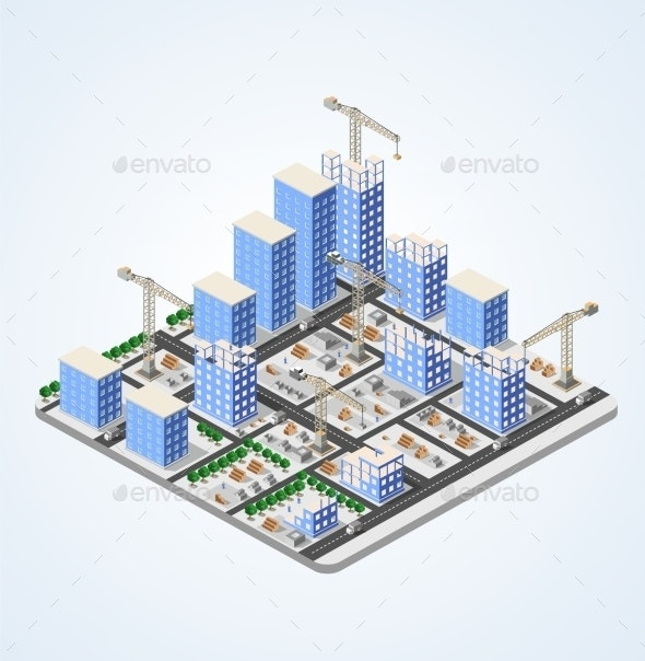 Crane Construction Industry  - Buildings Objects