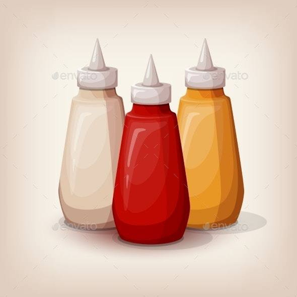 Set Of Delicious Fast Food Sauces.  - Food Objects