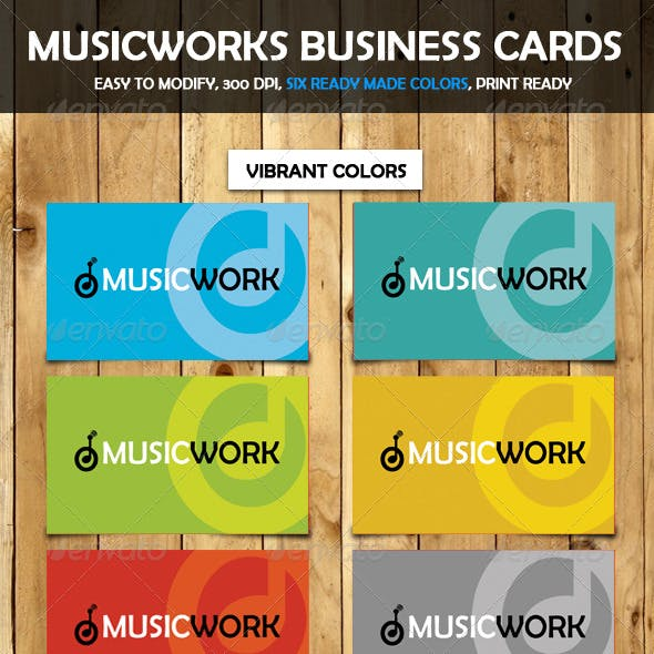 Music Works Business Cards 6 Colors