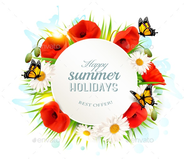 Happy Summer Holidays Background With Poppies Vector - Flowers & Plants Nature