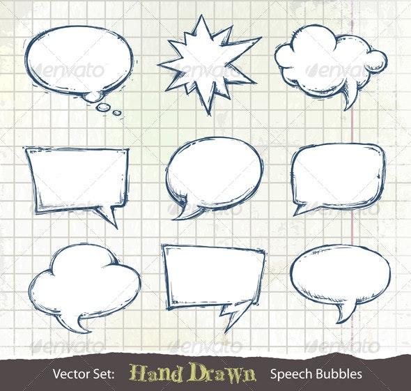 Set of hand-drawn speech bubbles - Decorative Symbols Decorative