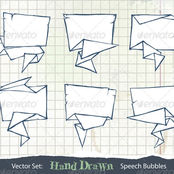 Set of Hand-Drawn Origami Speech Bubbles