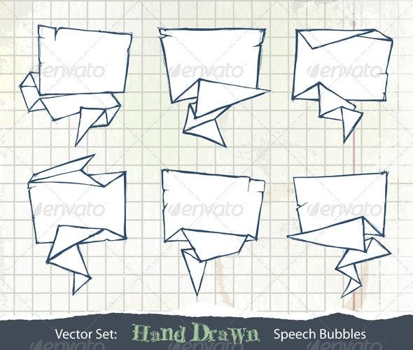 Set of Hand-Drawn Origami Speech Bubbles - Decorative Symbols Decorative