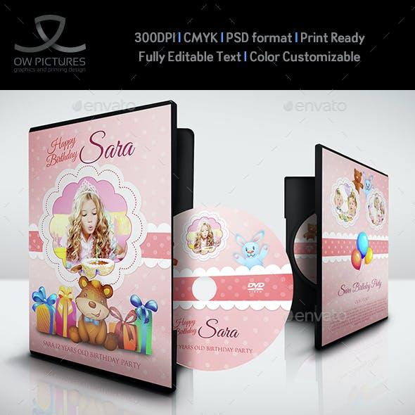 Birthday Party DVD Cover and DVD Label Template 4