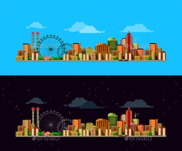 City Night And Day - Buildings Objects