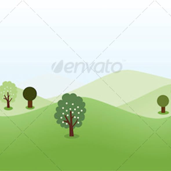 Landscape Background With Trees