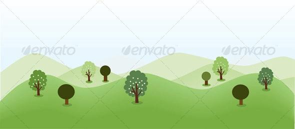 Landscape Background With Trees - Landscapes Nature