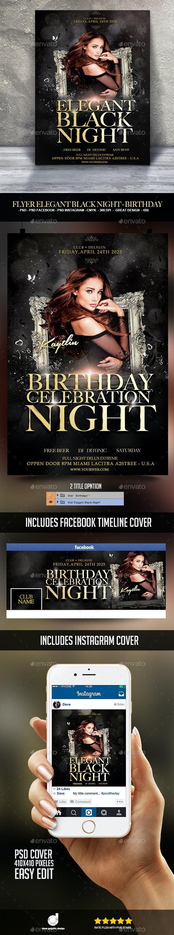 Flyer Elegant Black Night - Birthday - Clubs & Parties Events