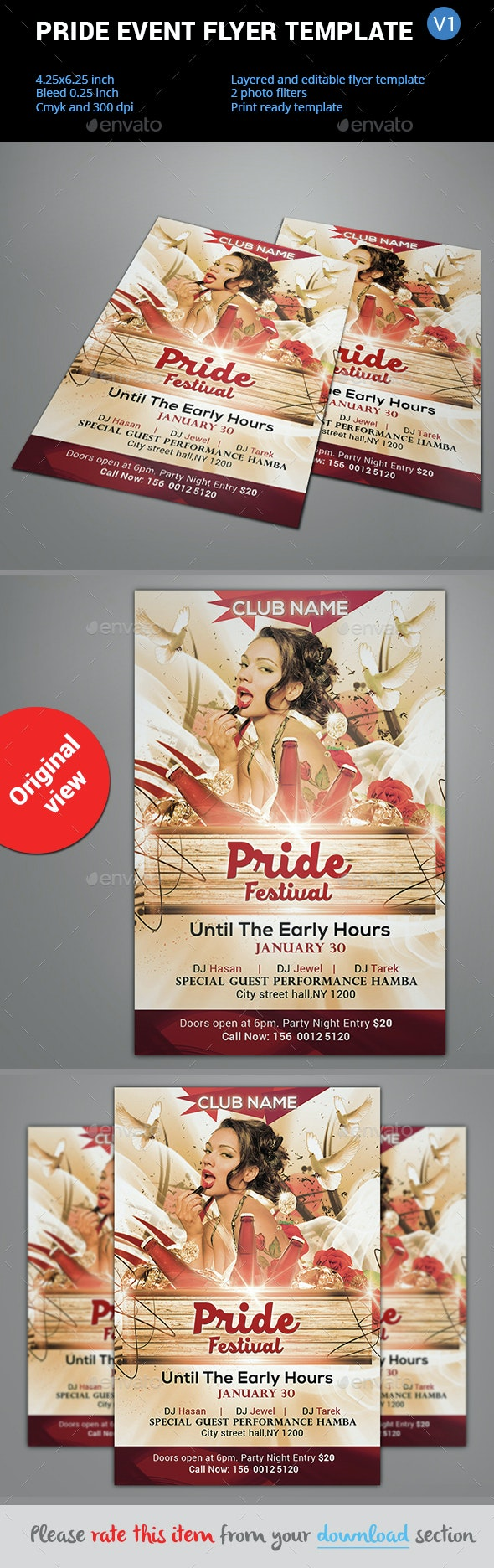 Pride Event Flyer Template V1 - Clubs & Parties Events
