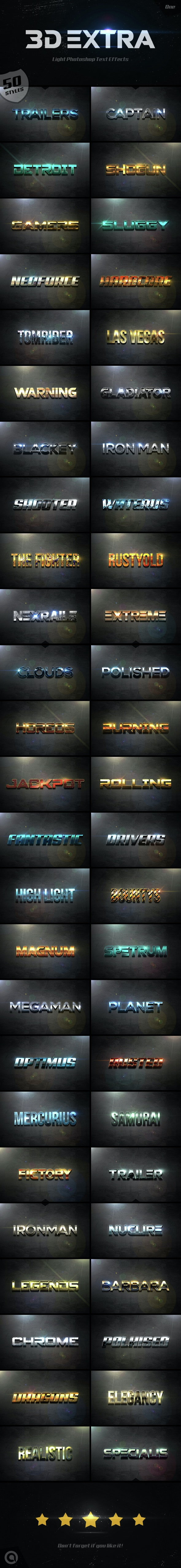 3D Extra Light Text Effects Bundle One - Styles Photoshop