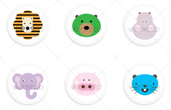 One Inch Animal Buttons - Animals Characters