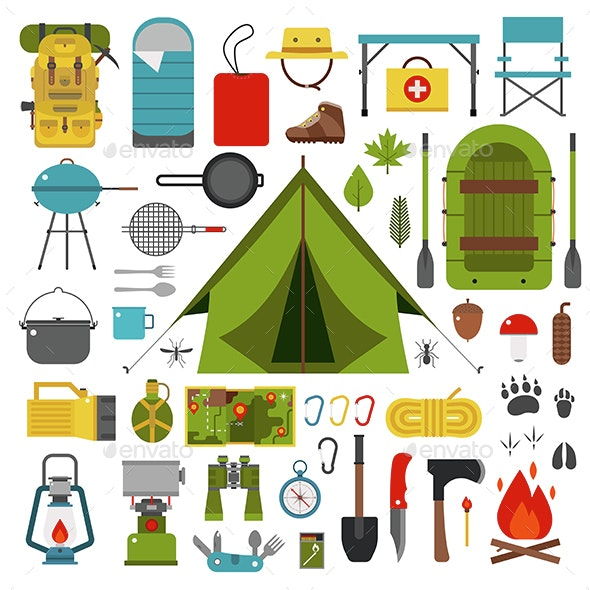 Camping and Hiking Vector Icons - Travel Conceptual