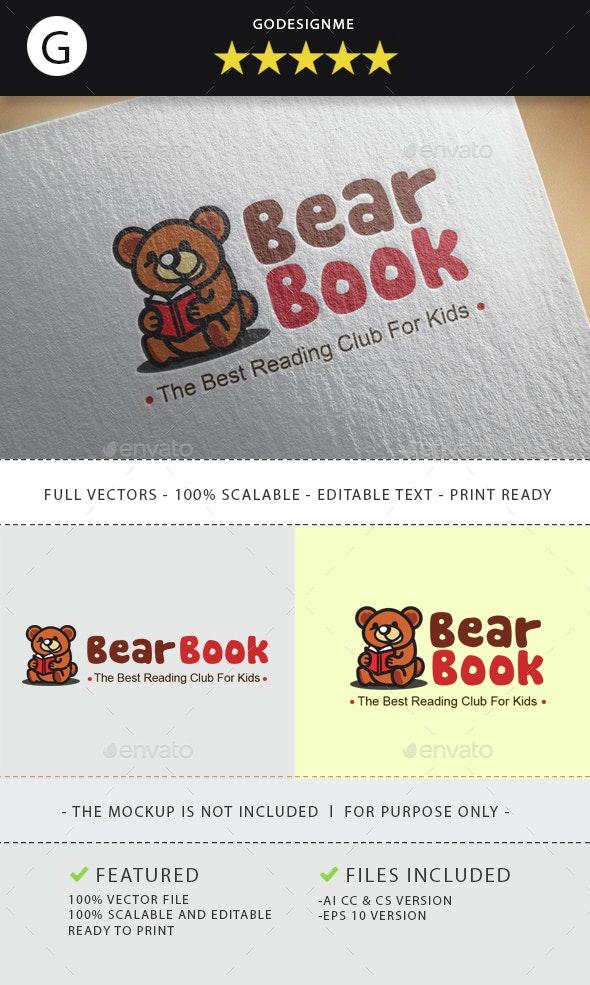 Bear Reading Club - Animals Logo Templates