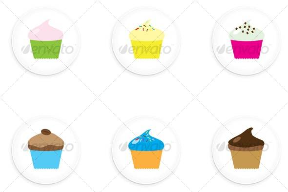 One Inch Cupcake Buttons - Animals Characters