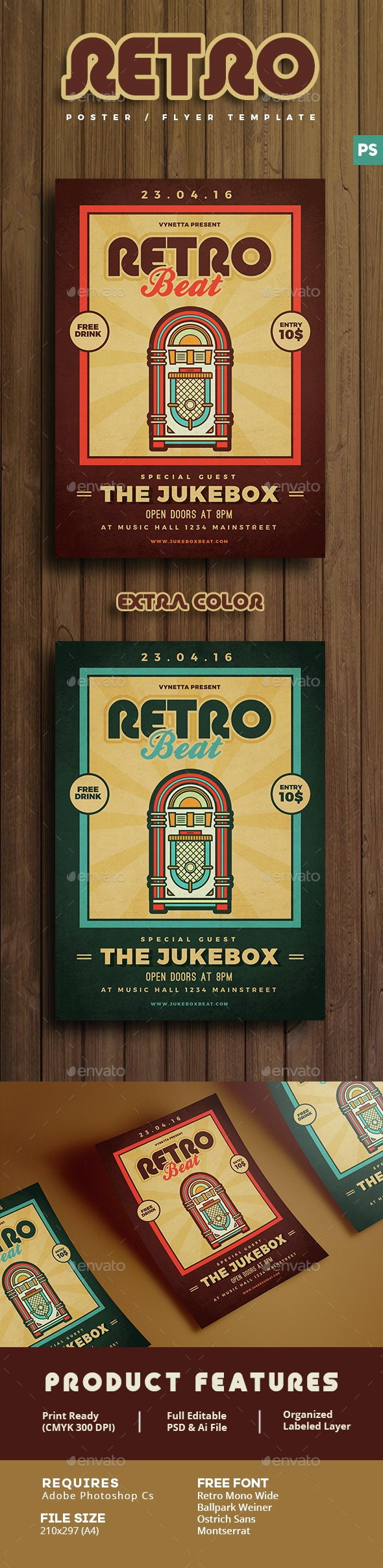 Retro Beat Poster / Flyer - Clubs & Parties Events