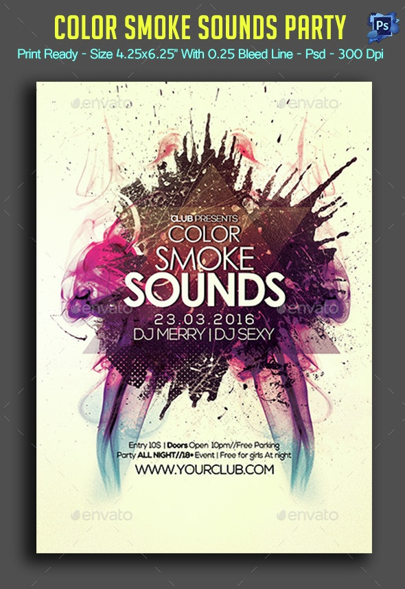 Color Smoke Sounds Flyer - Clubs & Parties Events