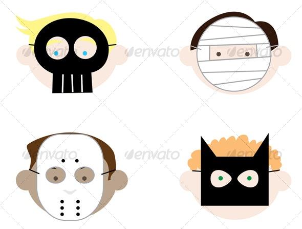 Boys Wearing Halloween Masks - Halloween Seasons/Holidays