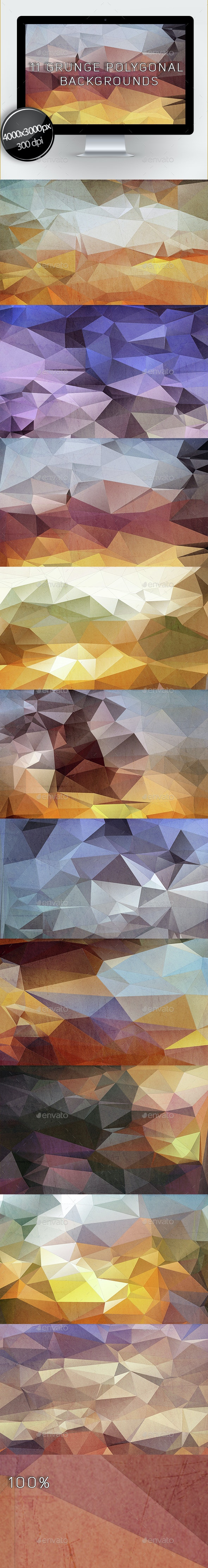 11 Grunge Polygonal Backgrounds - Abstract Backgrounds