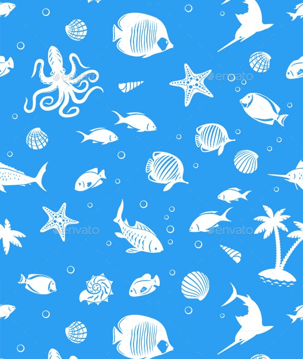 Ocean Fishes Seamles Pattern - Patterns Decorative
