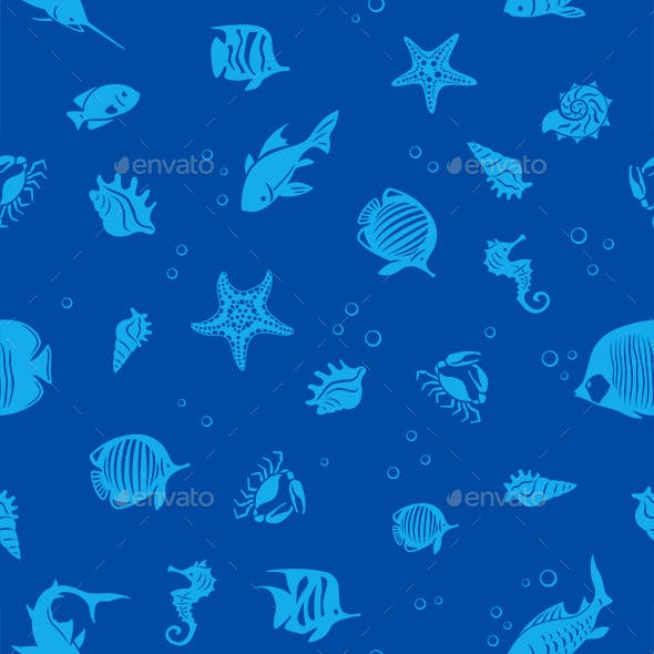 Ocean Fishes Seamles Pattern