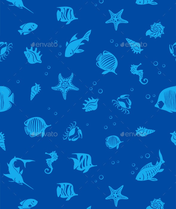 Ocean Fishes Seamles Pattern - Backgrounds Decorative