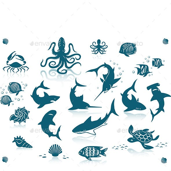 Ocean Fishes Icon Set