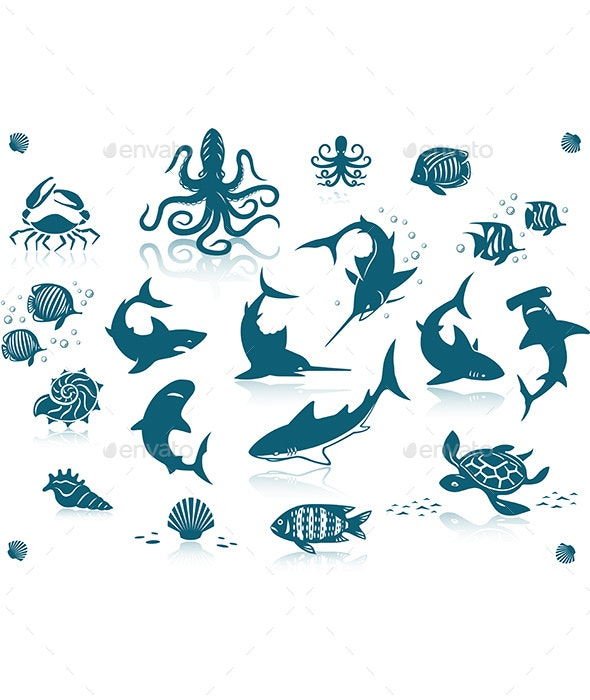 Ocean Fishes Icon Set - Animals Characters