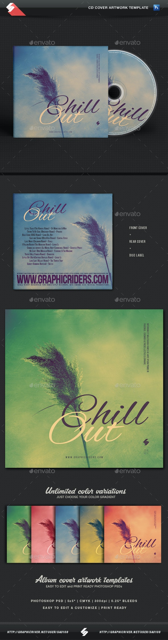 Chill Out - CD Cover Artwork Template - CD & DVD Artwork Print Templates