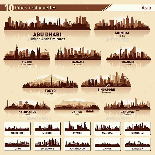 City Skyline Set Asia Silhouettes