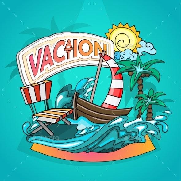 Vacation Cartoon Style - Travel Conceptual