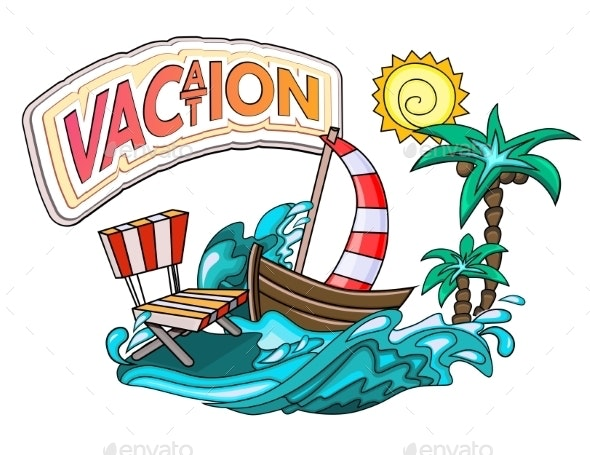 Vacation Cartoon Style - Travel Conceptual