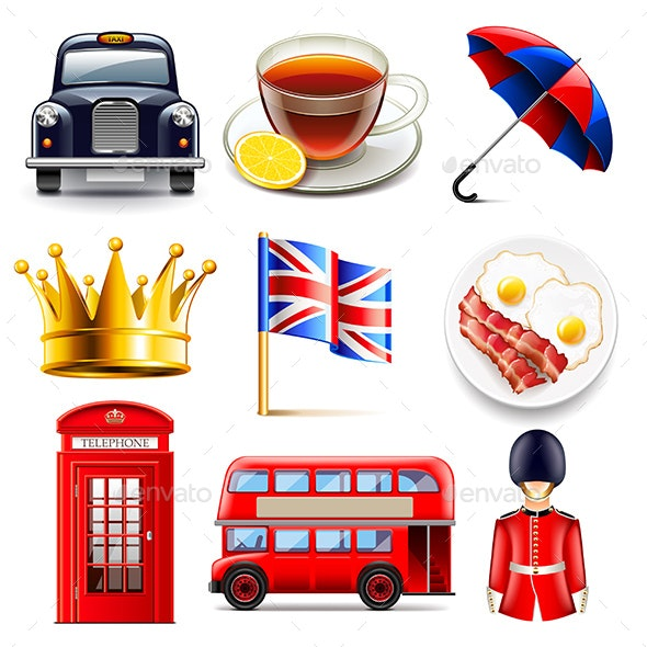 England Icons Set - Travel Conceptual