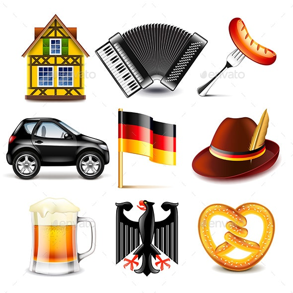 Germany Icons Set - Travel Conceptual