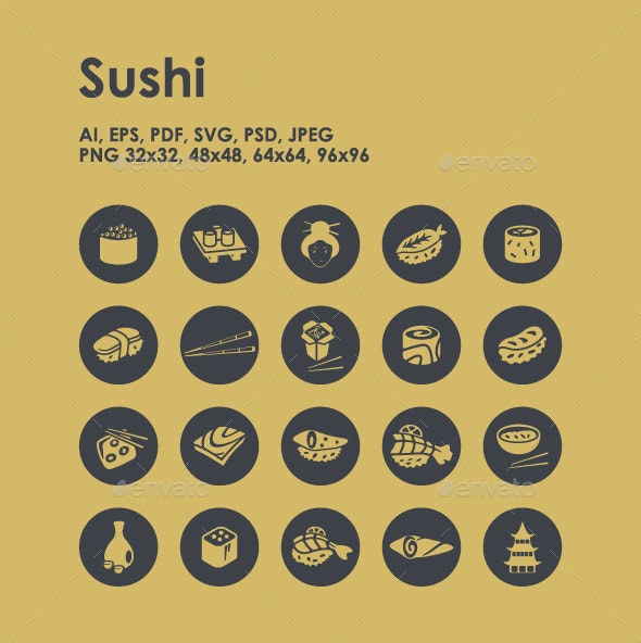 20 Sushi icons - Food Objects