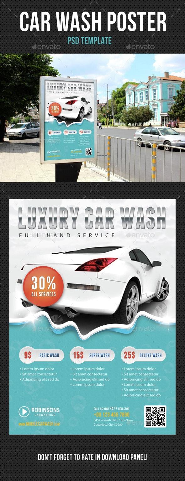 Car Wash Poster 01 - Signage Print Templates