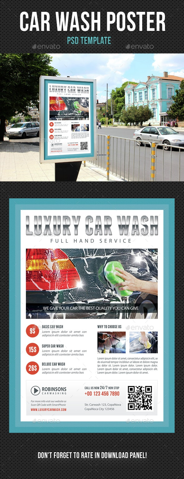 Car Wash Poster 02 - Signage Print Templates