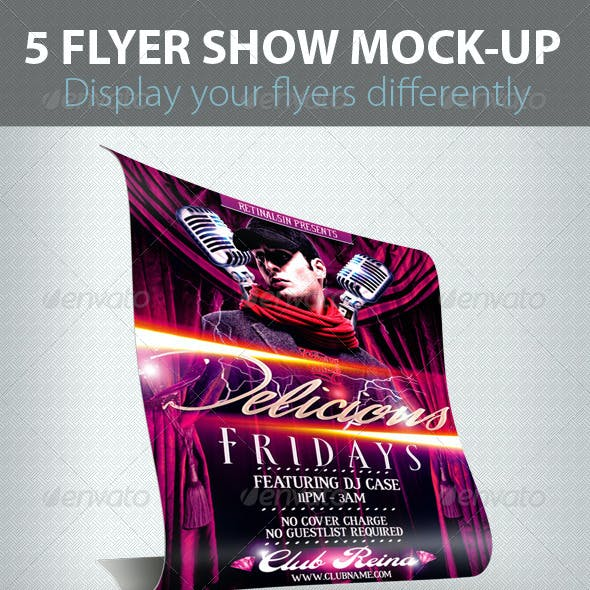 5 Flyers Show Mock-up