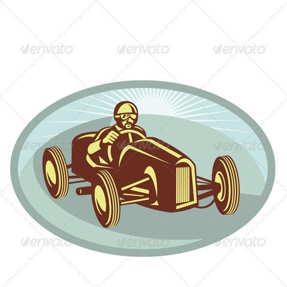 Vintage Race Car Driver Racing Retro