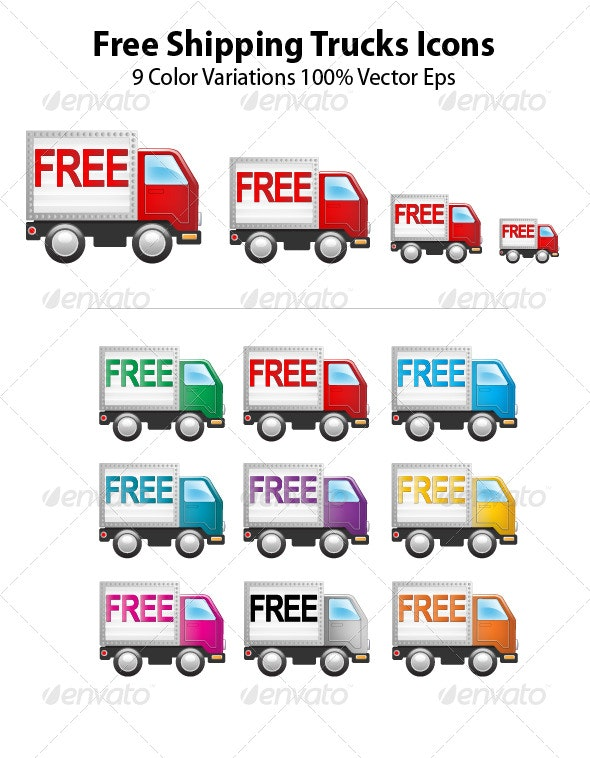 Free Shipping Truck Icons - Vectors