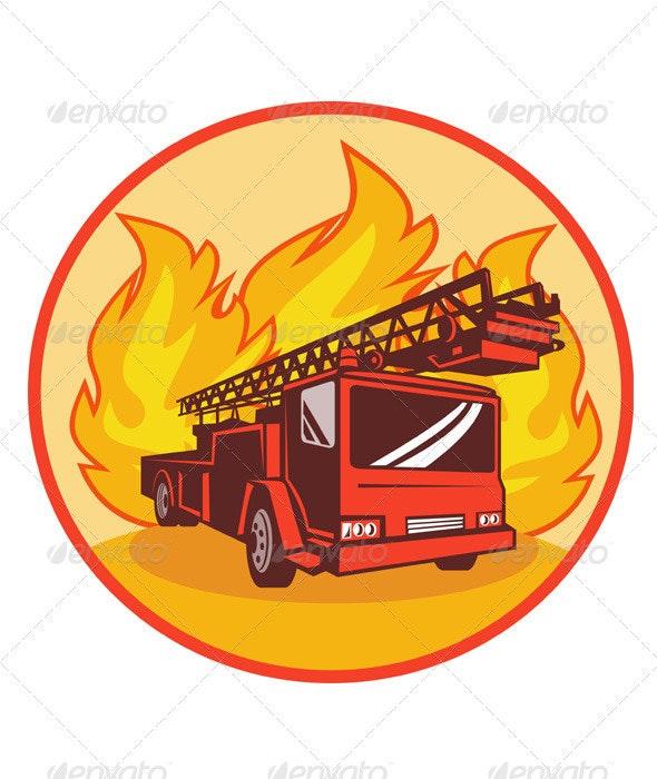 Fire Truck Engine Appliance Retro - Industries Business